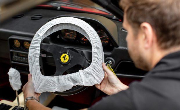 Classic Ferrari with steering Wheel Cover