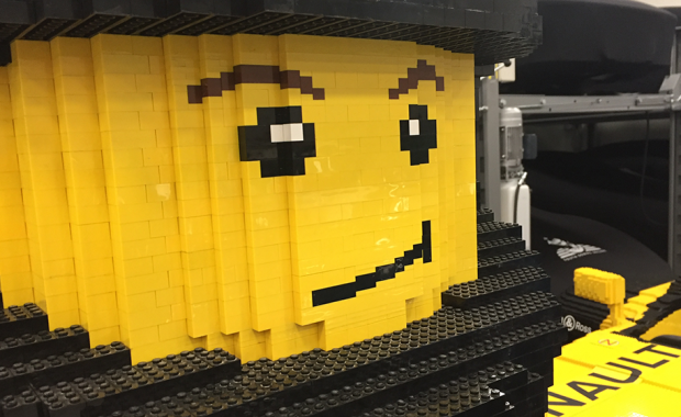 life-size lego car and car storage