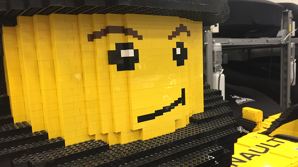 life-size lego car and car storage